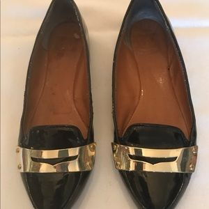 Dolce Vita Pointy Gold Buckle & Black Loafers S:7.